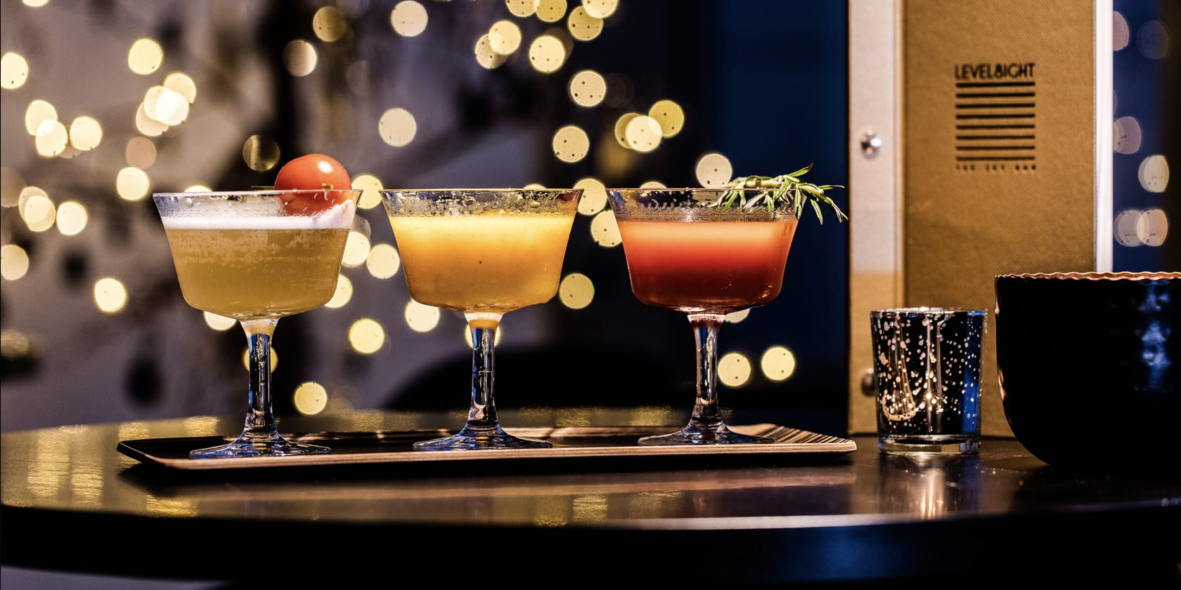 Trio of cocktails.